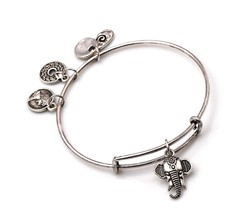 "Antique Silver Tone Expandable Wire Bangle Bracelet with ""Elephant"" Pendant - $19.95"