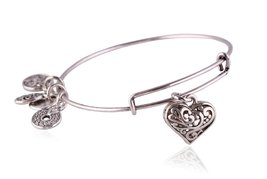 "Antique Silver Tone Expandable Wire Bangle Bracelet with ""Flower Heart"" ... - $24.95"