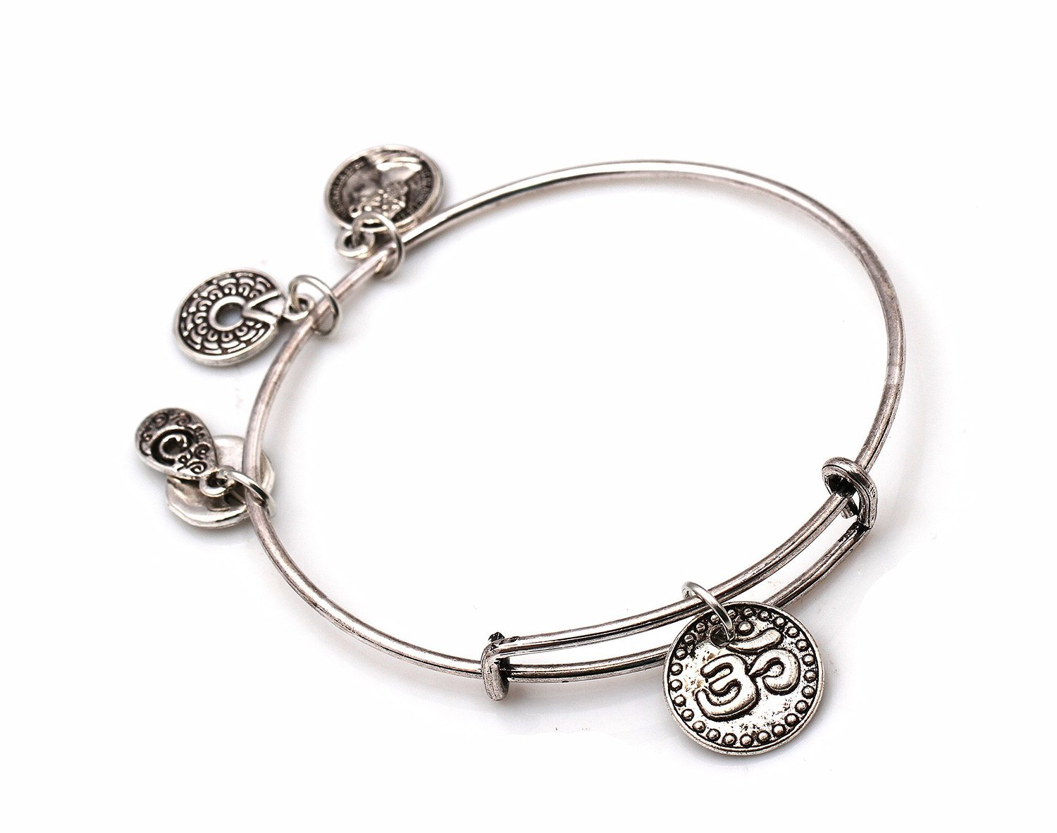 "Antique Silver Tone Expandable Wire Bangle Bracelet  with ""OM"" Pendant"