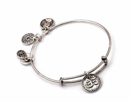 "Antique Silver Tone Expandable Wire Bangle Bracelet  with ""OM"" Pendant - $19.95"