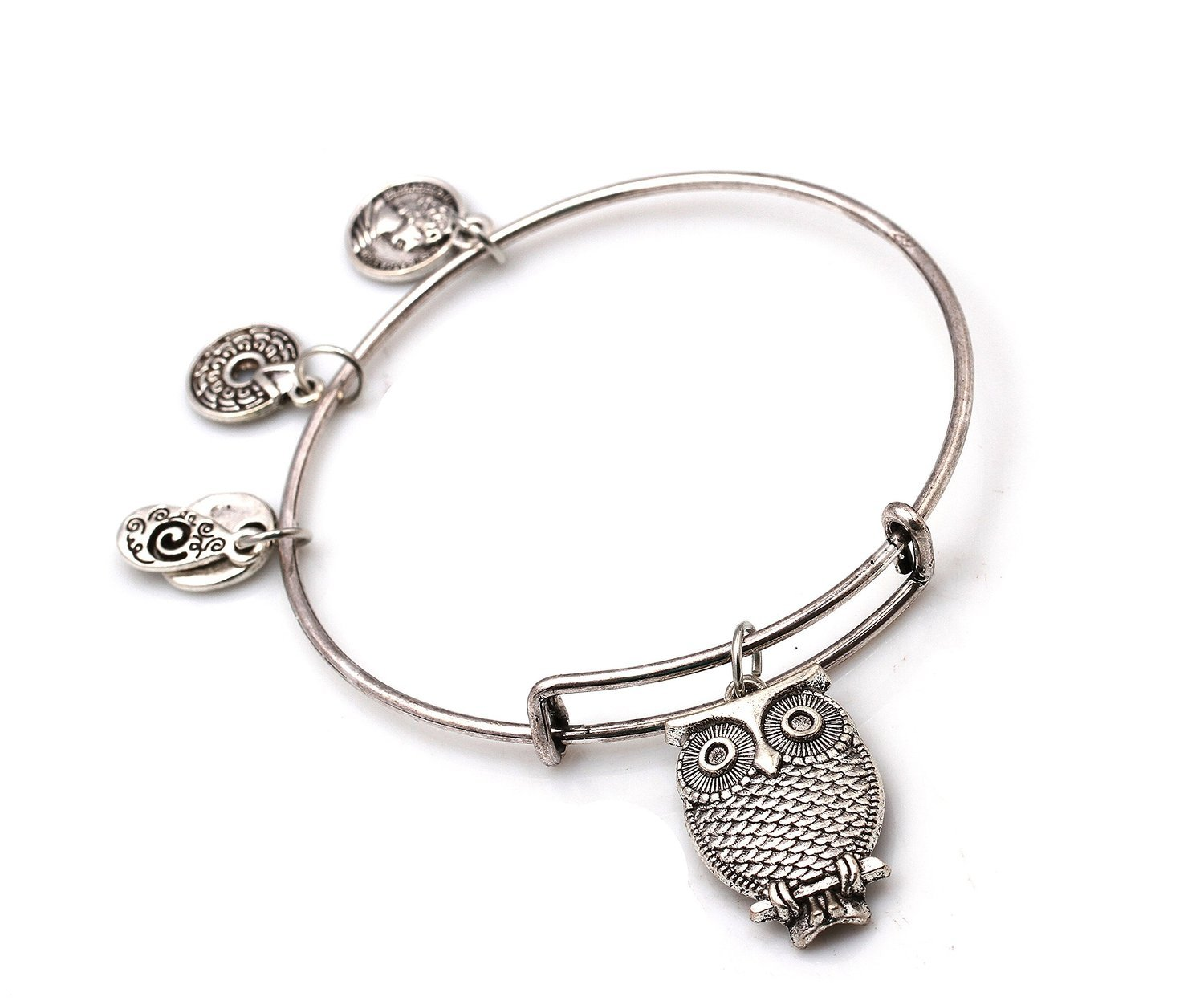 "Primary image for Antique Silver Tone Expandable Wire Bangle Bracelet with ""Owl"" Pendant"
