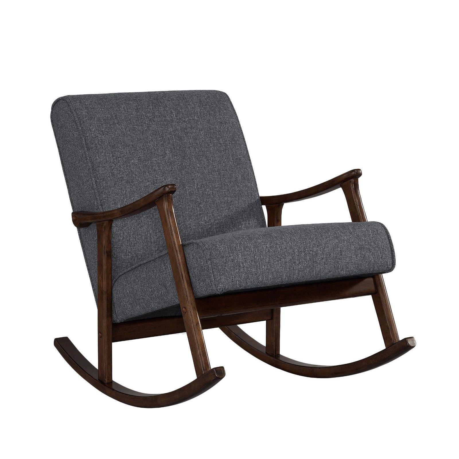 Granite grey fabric retro wooden rocker chair modern - Fabric rocking chairs living room ...