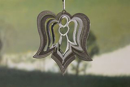3 in stainless steel silver Angel USA 3D hanging garden wind spinner, spinners - $9.00