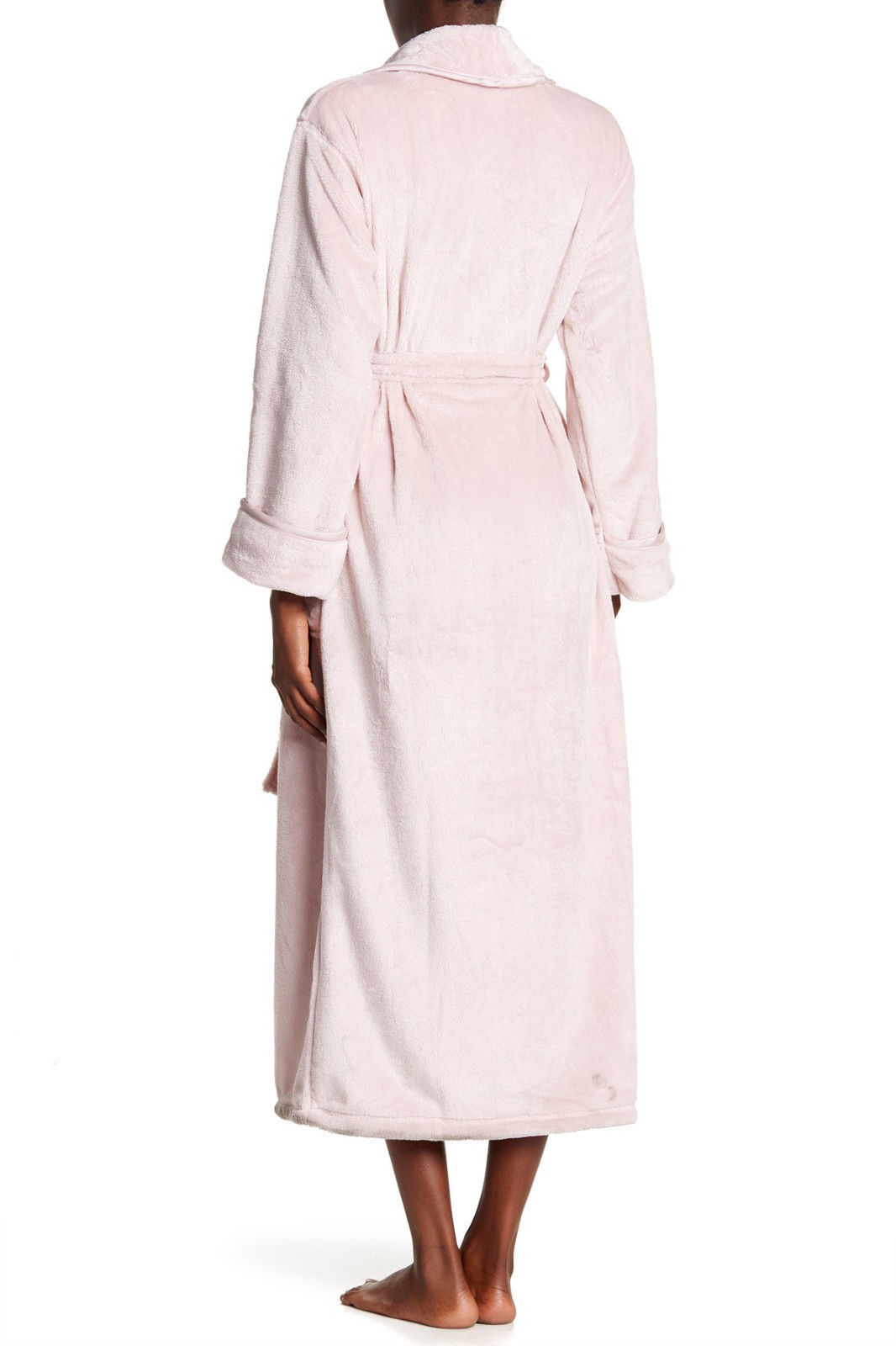 NWT New Natori Pink Faux Fur Robe Womens Long Very Soft Pockets M Dusty Rose Lus image 7