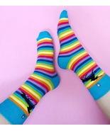 4LCK Socks with Rainbow colourful stripes and black Unicorn - $8.40