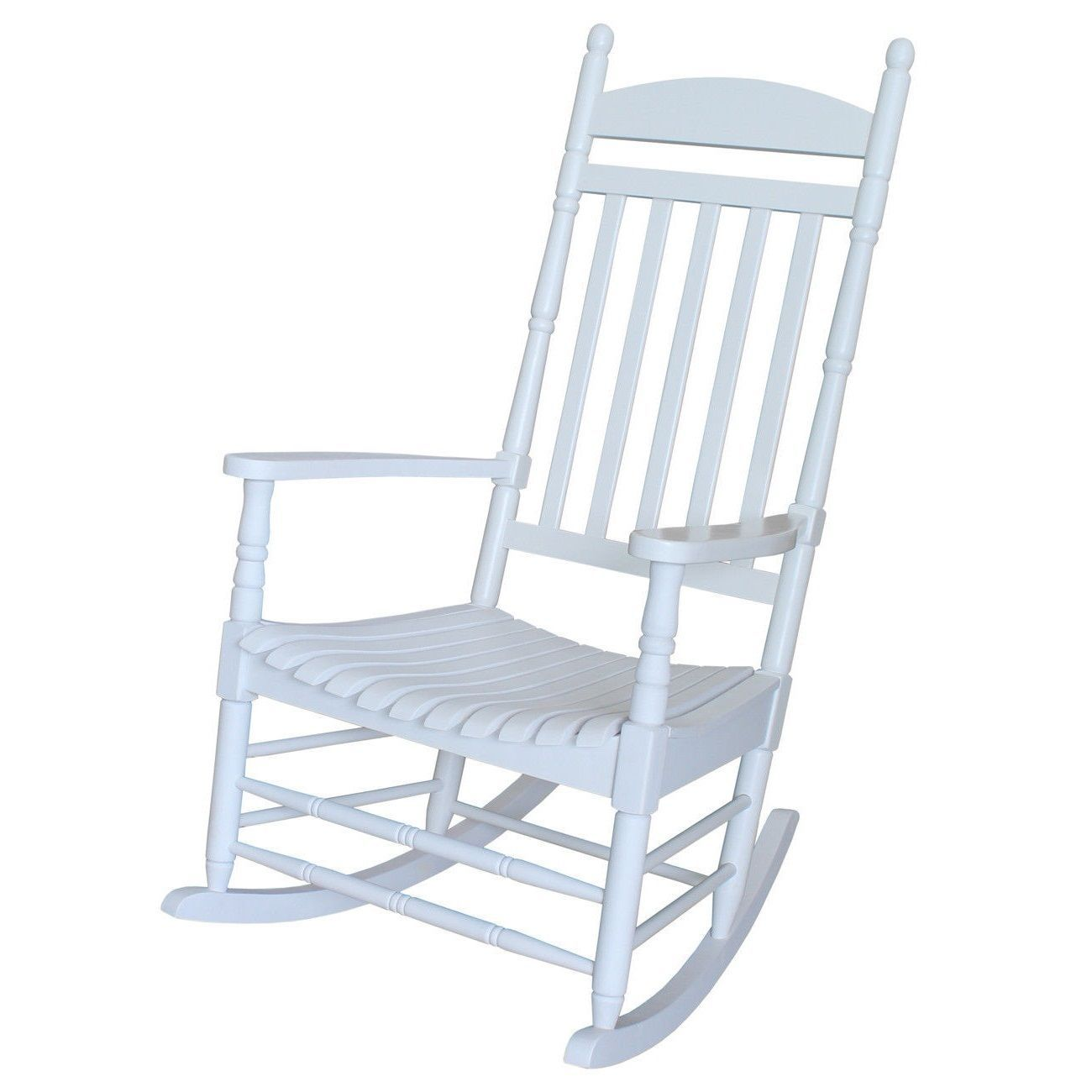 Classic White Wood Front Porch Rocking Chair - Chairs
