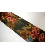 Burma Bibas Neck Tie 100% Silk Floral Green Brown Teal Coral Water Color... - $29.00