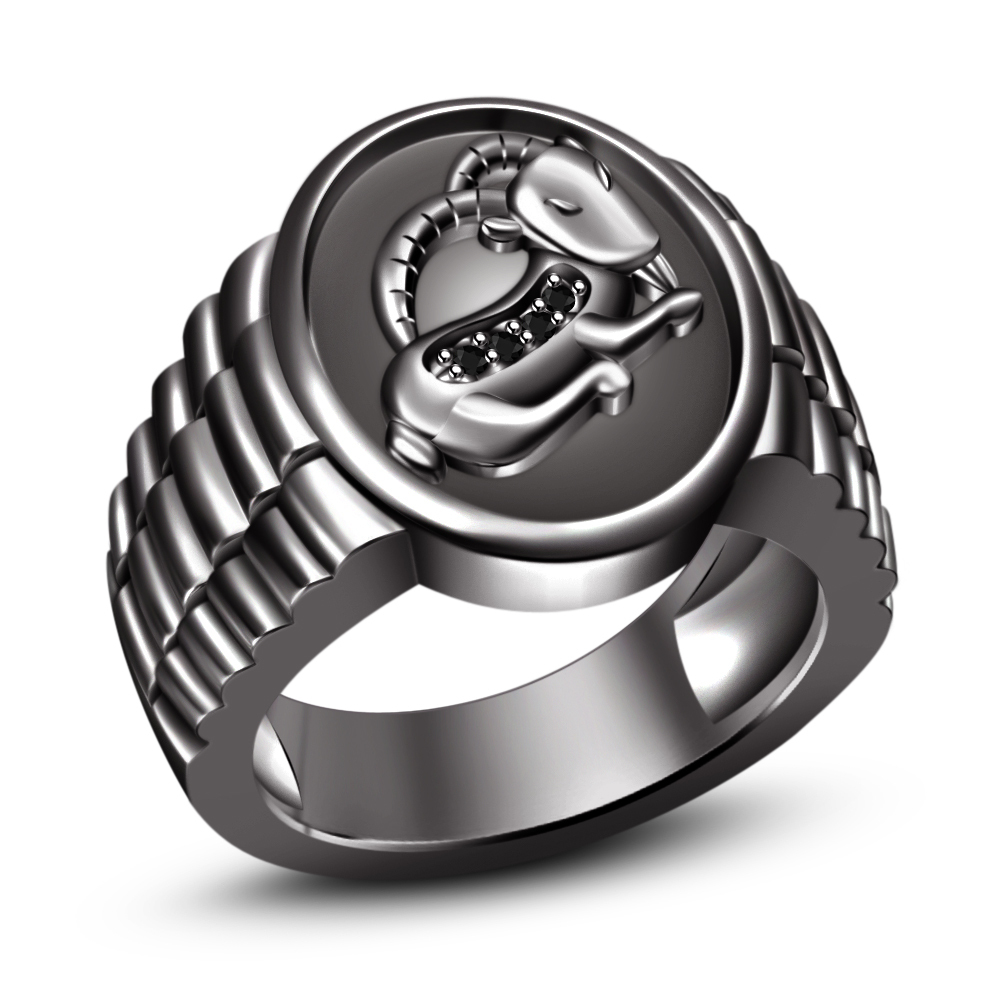 Black Diamond Black Gold Plated .925 Sterling Silver Capricorn Zodiac Sign Ring