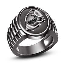 Black Diamond Black Gold Plated .925 Sterling Silver Capricorn Zodiac Sign Ring - $97.05