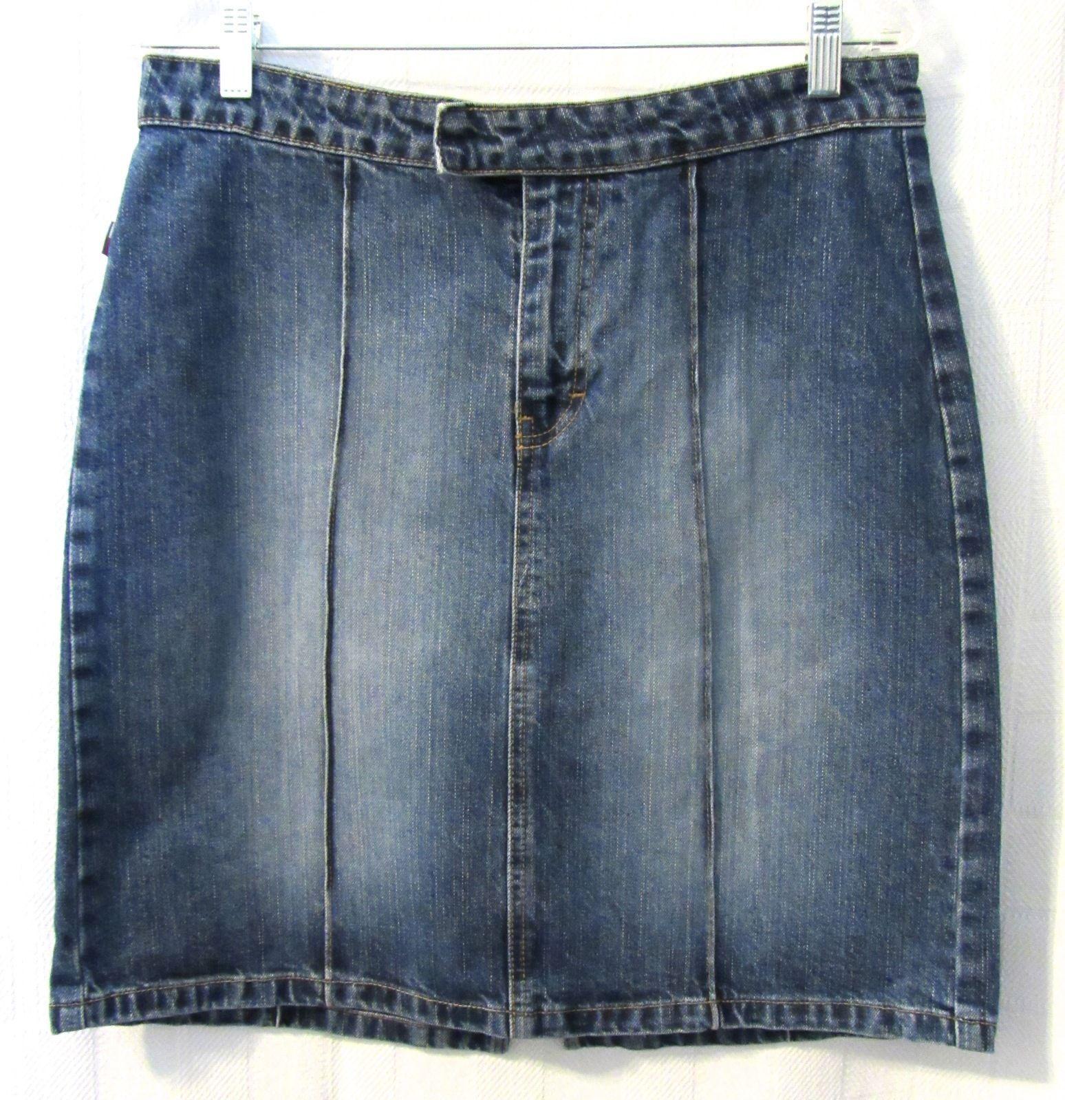 hilfiger junior knee length solid blue denim