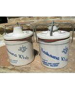 2 Old Kaukauna Klub Dairy Cheese Pottery Crocks with ORIGINAL LIDS bz - $79.99