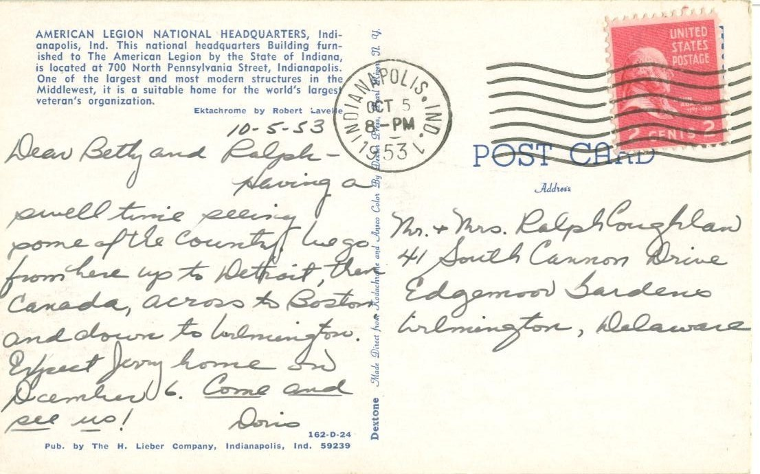 American Legion National Headquarters, Indianapolis, 1953 used Postcard