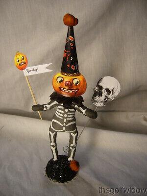 Vintage Inspired Spun Cotton Skeleton Pumpkin Vintage by Crystal no. HW36