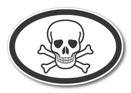 Skull and Crossbones Oval Car Magnet 4 inch X 6... - $5.99