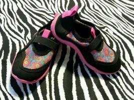 ~ Girls Pink Slip on Beach Swim Water Shoes Black Rainbow Colors Size 7 8 - $11.99