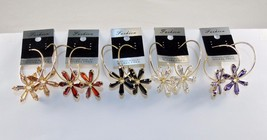 Gold Tone Hoop Earrings w/6 Point Cubic Zirconia ~ Choice of Color ~ #54... - $9.95