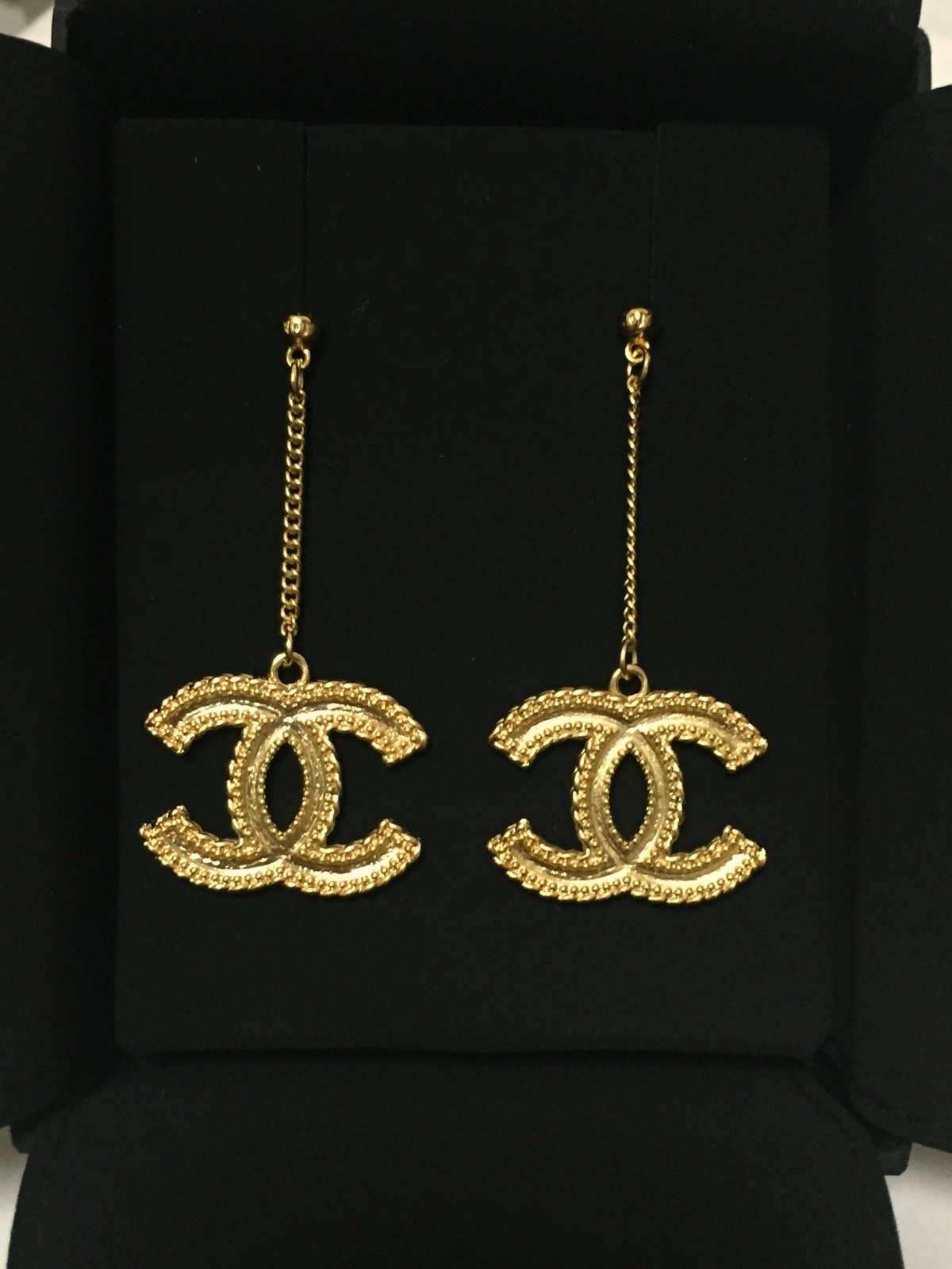 100 Authentic Chanel Xl Large Baroque Gold Cc Dangle Earrings