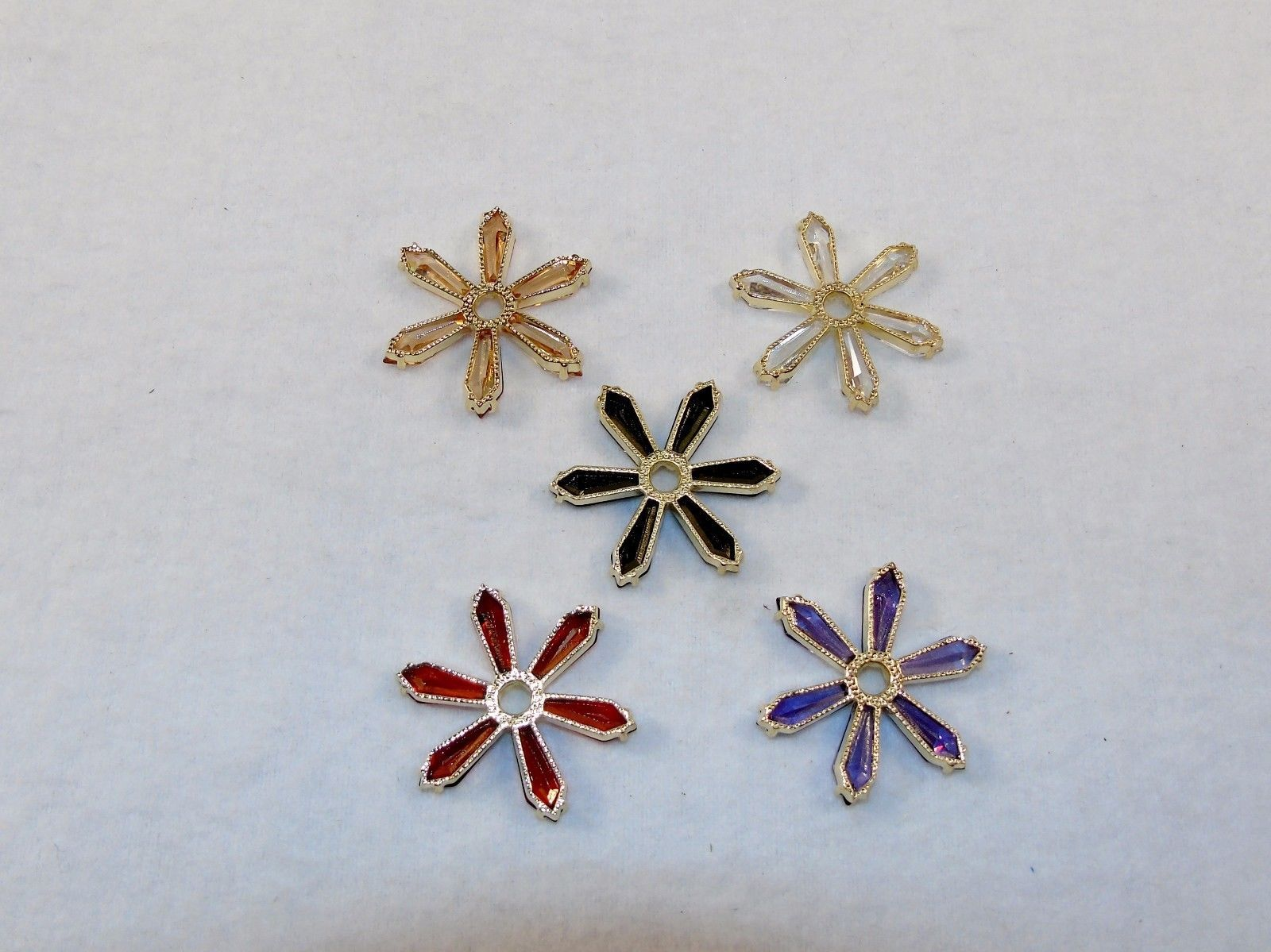 Fashion Jewelry Earrings ~ 5 Pair, 5 Colors ~ 6 Point Stars on Hoops ~ #5420190