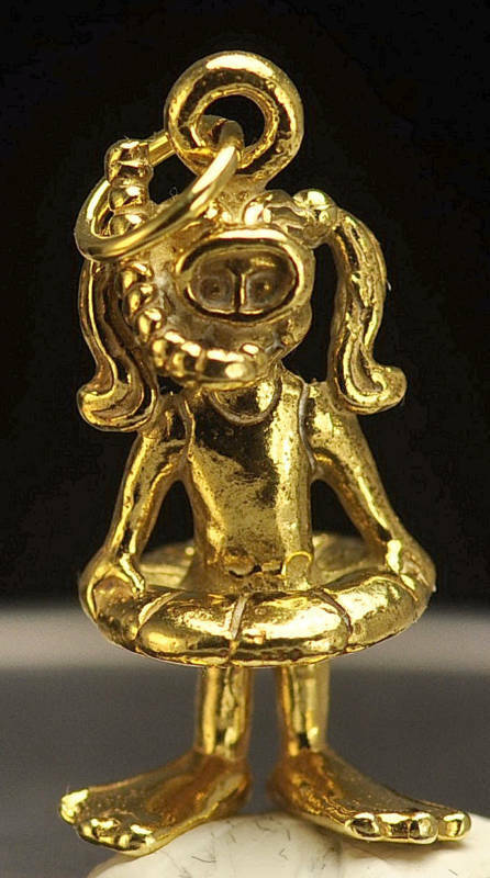LOOK 24kt Gold plated GIRL SNORKELING 3D CHARM Swimming Swim
