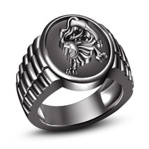 Real Diamond Black Gold Plated .925 Sterling Silver Astrology Leo Zodiac Ring - $96.52