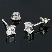 4mm Screw-Back Russian Ice CZ Stud Earrings 925 Silver Princess Cut 0.75 carats - $20.00