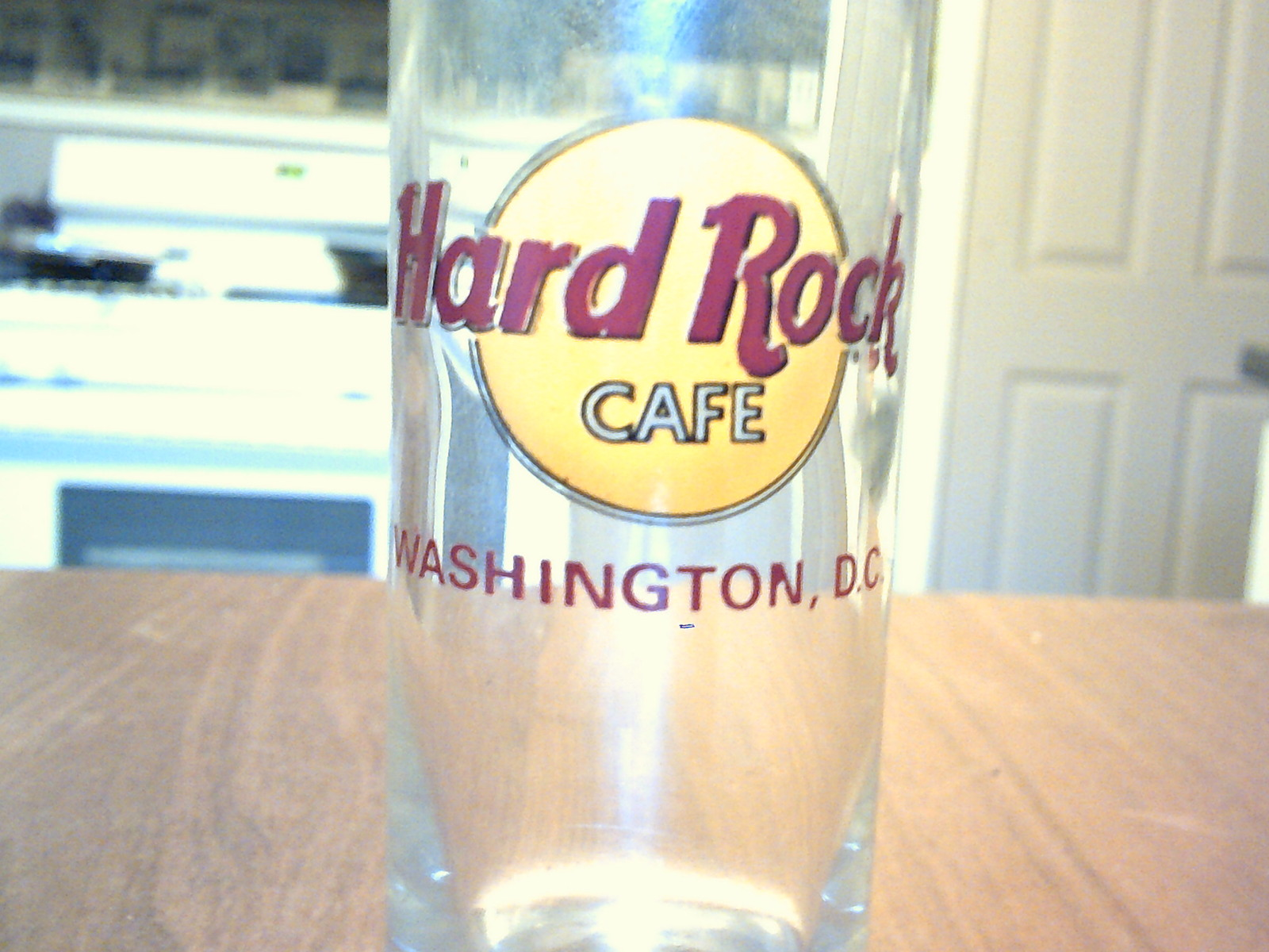 collectable tall clear glass shot glass hard rock cafe washington dc nice