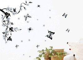 NEW Flower Butterfly Wall Sticker Decal Vinyl H... - $18.76