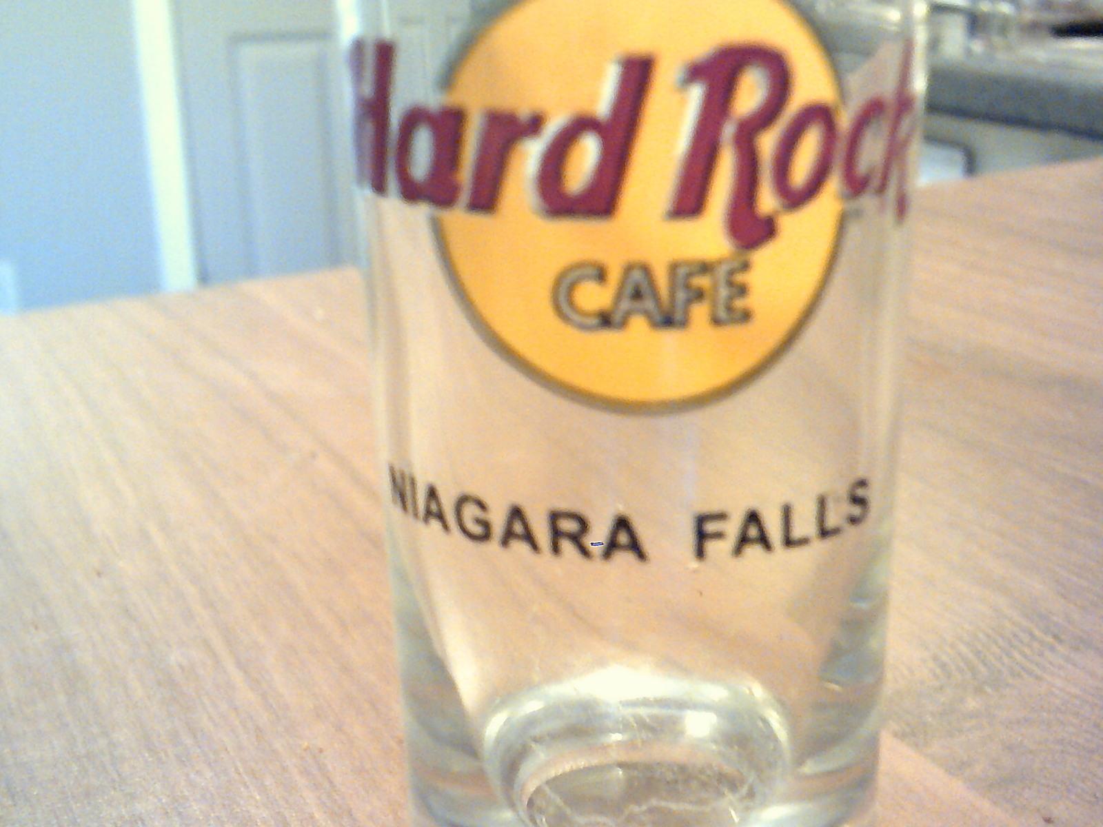 collectable clear glass shot glass hard rock cafe niagara falls tall neat