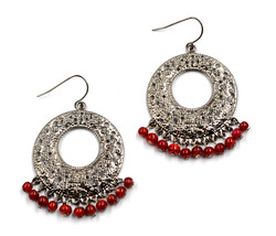 Beautiful women round hoop cut out red beads drop pierced earrings - $23.08 CAD