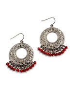 Beautiful women round hoop cut out red beads drop pierced earrings - $18.00