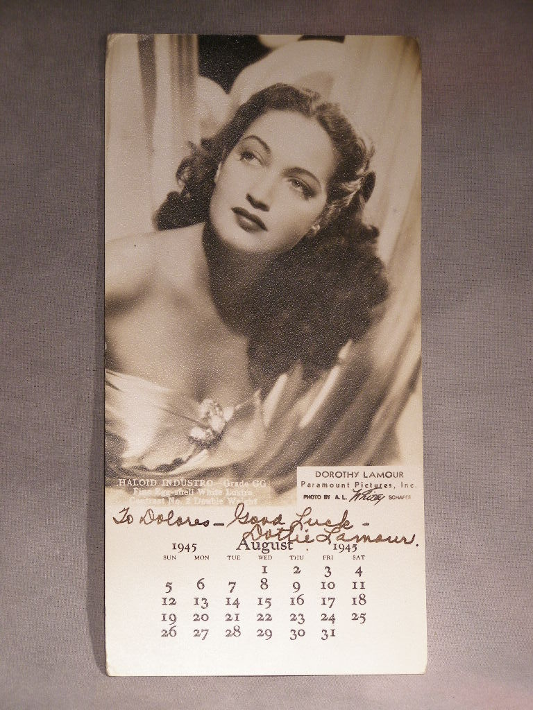 "Primary image for Autographed Photo Of Paramount Picture's ""Dorothy Lamour"" -  (sku#1911)"