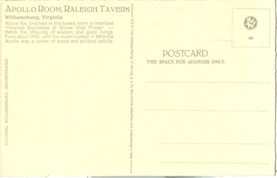 Apollo Room, Raleigh Tavern, Williamsburg, Virginia, early 1900s unused Postcard