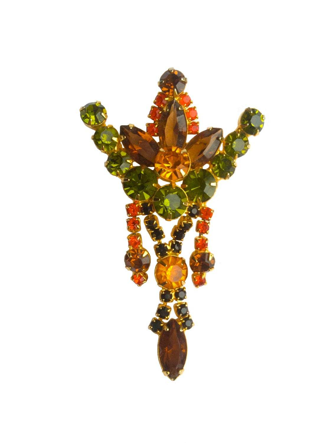 60s Juliana Style Austrian Glass Green Orange Brown Rhinestone Brooch & Clip Ear