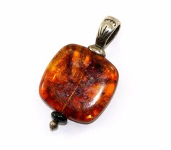 VINTAGE DAKOTA WEST AMBER SOUTHWEST PENDANT 925 STERLING PD 1231 - $44.84
