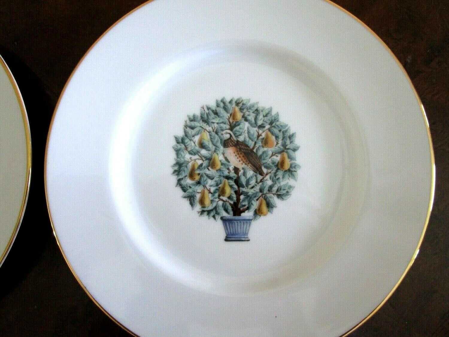 4 PC Partridge Pear Tree Dessert Plates Twelve 12 Days of Christmas Avon Salad