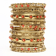 Amrita Singh Vin Bangle Set, Coral - $40.00