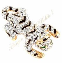 Tiger Pin Brooch Clear Crystal Black Enamel Cat Green Eyes Gold Tone Metal - $24.99