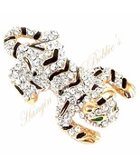 Tiger Pin Brooch Clear Crystal Black Enamel Cat Green Eyes Gold Tone Metal - $24.99