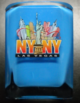 Las Vegas New York New York Shot Glass Square Style Plastic with Blue Ba... - $6.99