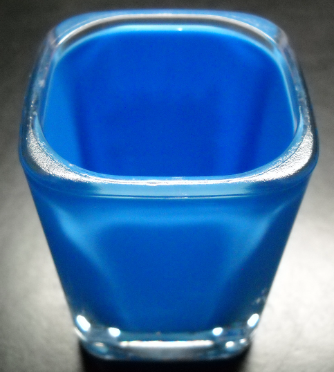 Las Vegas New York New York Shot Glass Square Style Plastic with Blue Background