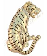Tiger Pin Brooch Cat Clear Crystal Collar Green Eye Brass Tone Metal - $16.99