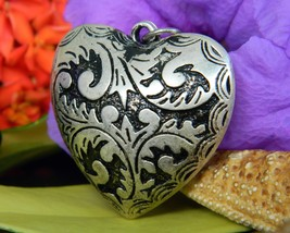 Vintage Puffy Heart Pendant Etched Relief Black Silver Tone Reversible - $16.95