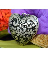 Vintage puffy heart pendant etched relief black silver tone reversible thumbtall