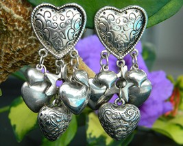 Vintage Puffy Hearts Stars Dangle Earrings Black Silver Etched Clips - $17.95