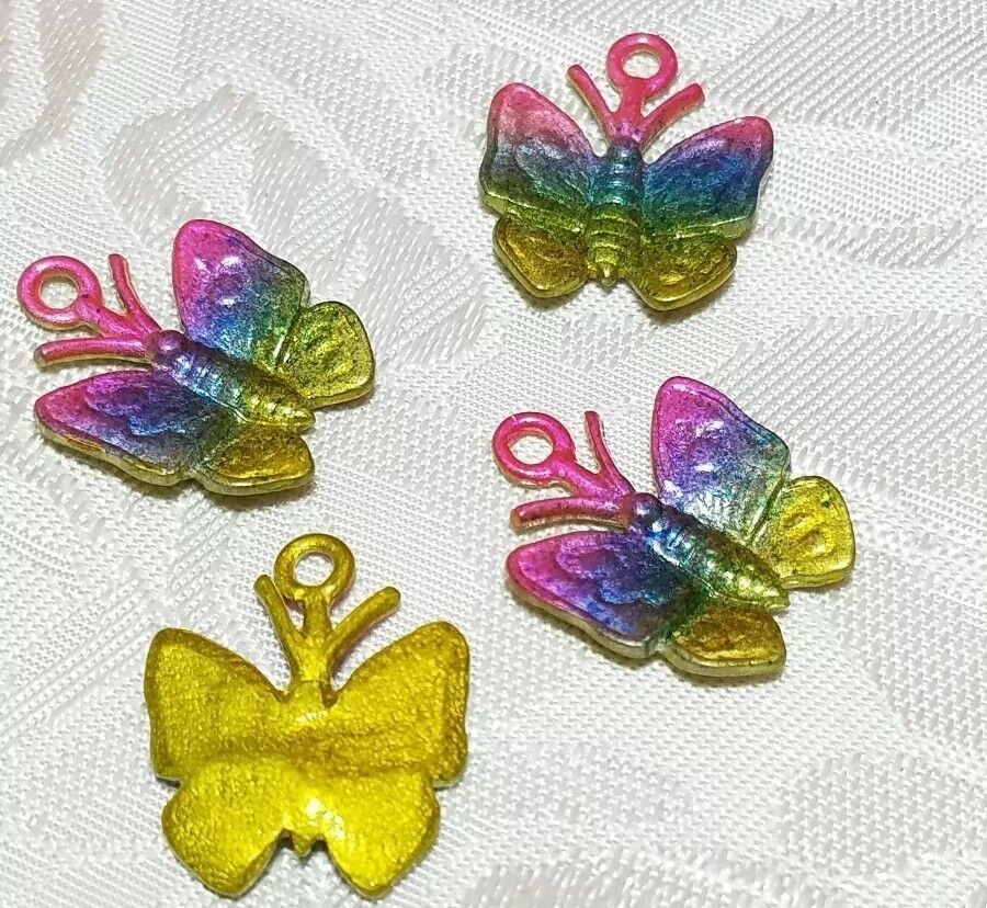 COLORFUL BUTTERFLY FINE PEWTER CHARM - 17x21x2mm C434EP