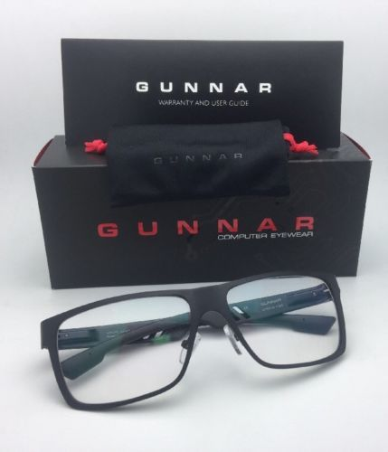New GUNNAR Computer Glasses VINYL 57-15 135 Onyx Black Frames Crystal Clear Lens