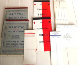 Lot Vintage Contract Bridge Score Pads Old Paper Tally Card Game Tablet ... - $9.89