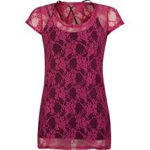 Details about  Full Tilt Pink Lace 2-Piece Women's Top M NWT  - $12.99
