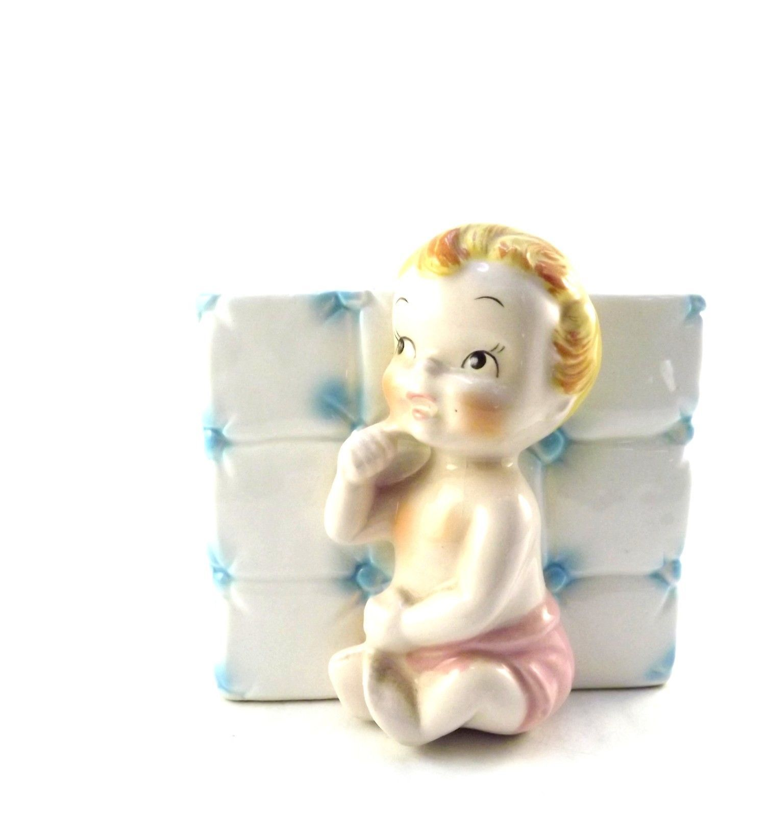 Baby Nursery Planter Vase Vintage Napco Collectible Glass Blue It's a Boy K2847 - $24.00