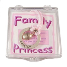 Affirmation Sterling Silver Family Princess Circle Necklace New - $17.99